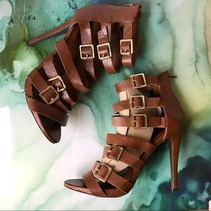 Mossimo Leather Buckle Strap Heels